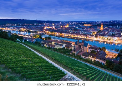 Panorama of Wurzburg at night. Wurzburg, Bavaria, Germany