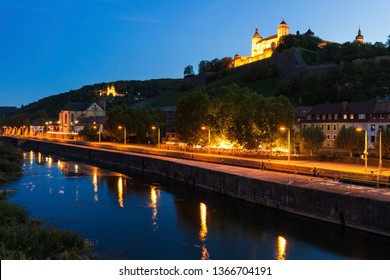 Panorama of Wurzburg at night. Wurzburg, Bavaria, Germany.