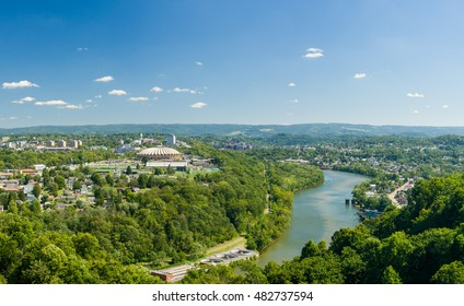 Panorama of WVU Coliseum Arena and campus of West Virginia University with river Monongahela in Morgantown, West Virginia