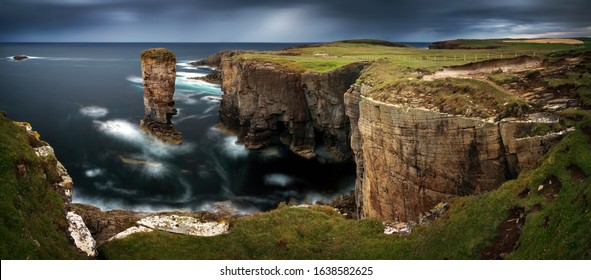 Panorama of Yesnaby cliffs with Castle Rock, Orkney Islands, Scotland