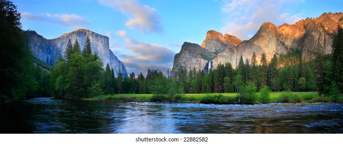 Panorama of the Yosemite Valley (El Capitan, Cathedral Rocks, Bridalveil Falls) at the Merced River.