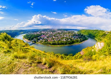 Panorama of Zalishchyky and the Dniester River from viewpoint in Khreshchatyk village, Ukraine.