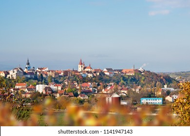 Panorama of Zatec town in autumn. Czech Republic.