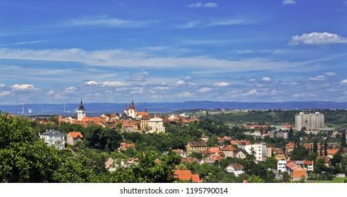 Panorama of Zatec town in summer. Czech Republic.