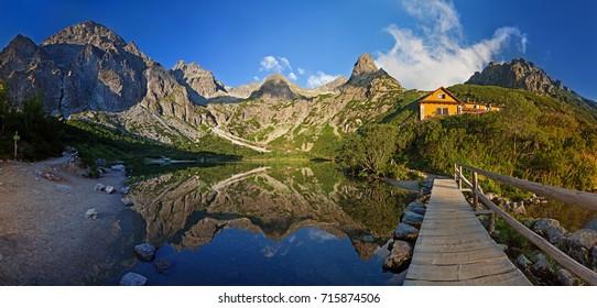 Panorama of Zelene pleso lake valley in Tatra Mountains, Slovakia, Europe
