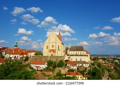 Panorama of Znojmo with a Gothic Church of St. Nicholas in czech Kostel Svateho Mikulase, South Moravia, Czech Republic, Europe