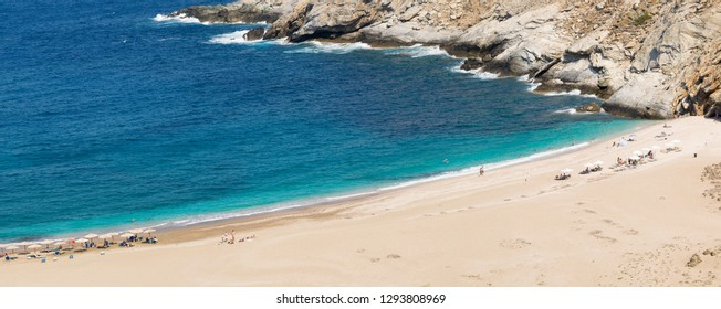 Panorama of Zorgos beach at Andors island in Greece.