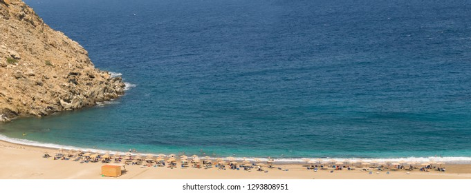 Panorama of Zorgos beach at Andros island in Greece.