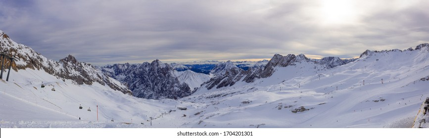 Panorama Zugspitze German Alpines with Snow an Ice