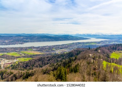 Panorama of Zurich city and lake from odservation tower on Uetliberg mountain