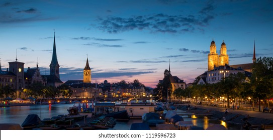 Panorama of Zurich city at night, Switzerland