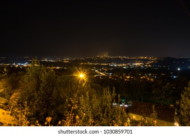 Panoramas of the nocturnal Marches from the Loreto lookout point, Ancona, Marche, Italy