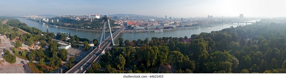 panoramatic picture of morning in Bratislava, Slovakia