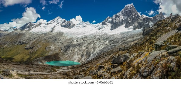 Panoramatic view of Cordillera Blanca in Peru