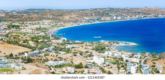 Panoramatic view of Faliraki beach lined with hotels (Rhodes, Greece)