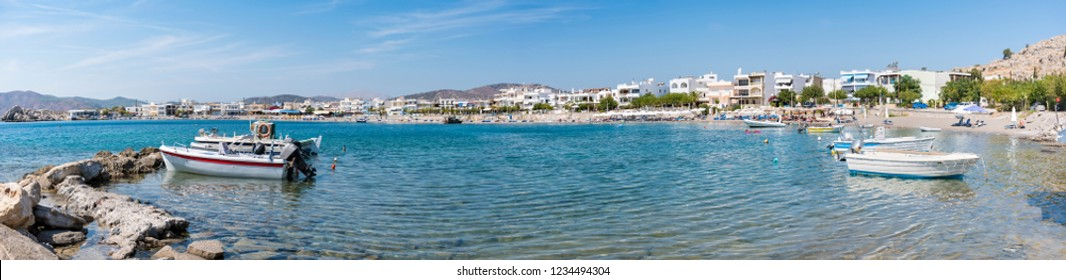 Panoramatic view of Haraki beach with apartment houses (Rhodes, Greece)