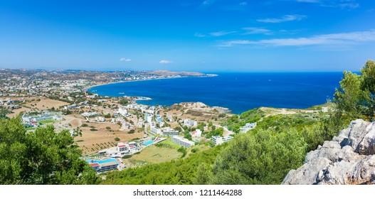 Panoramatic view of hotels in Faliraki and Mediteranean sea (Rhodes, Greece)
