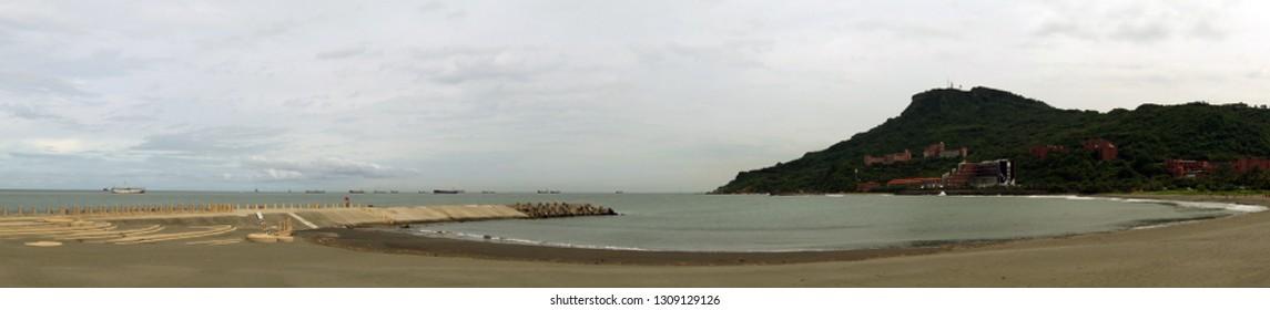 Panoramatic view over Xi Zi Wan bay and beach, Kaohsiung, Taiwan