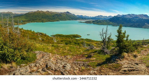 Panoramatic view of Skilak lake in Kenai peninsula in Alaska