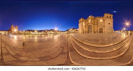 PANORAMIC 360 VIEW OF CATHEDRAL OF CUSCO AND MAIN SQUARE. CUZCO, PERU.