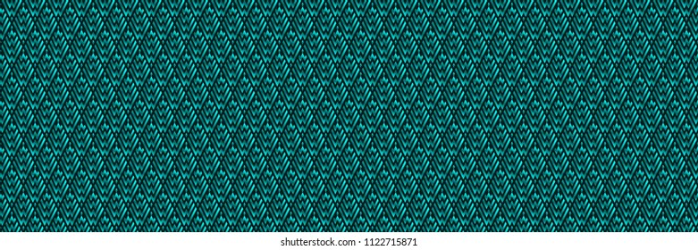 Panoramic Abstract Turquoise Geometric Pattern with Stripes. Optical Rhombic Psychedelic Illusion. Wicker Structural Texture. Raster Illustration