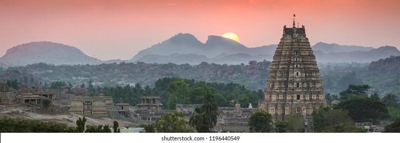 Panoramic across the ancient city of Vijayanagara, Hampi, Karnataka, India, a UNESCO World Heritage Site