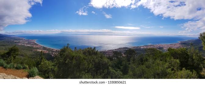 Panoramic Aegean Sea and Lesvos Island view from Zeus Altar in Kazdagi Mountain at Adatepe Village, Kucukkuyu, Canakkale.