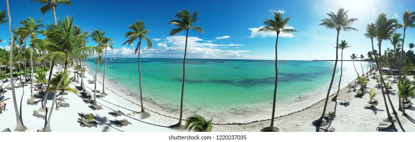 Panoramic aerial of a beautiful exotic beach in Punta Cana, Dominican Republic