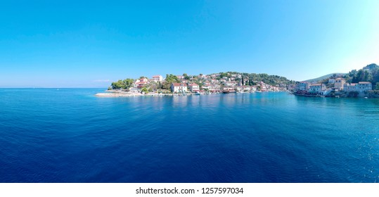 Panoramic Aerial bird view of famous fisherman village island Solta south of Split in sunny summer day, Croatia.