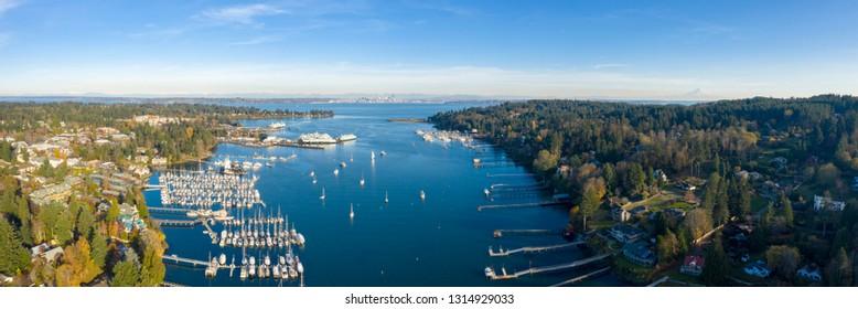 Panoramic Aerial Birds Eye View of Bainbridge Island Mount Rainier Seattle