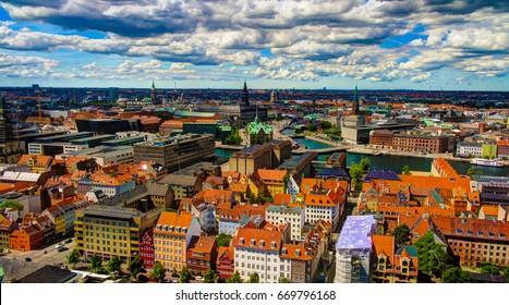 Panoramic aerial cityscape of Copenhagen city in Denmark