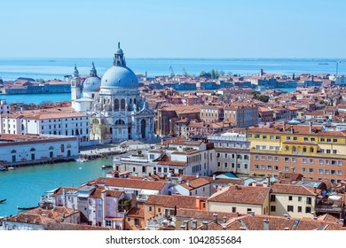 Panoramic aerial cityscape view to Venice in Italy, santa maria della salute church, view from top