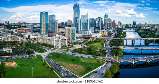 Panoramic Aerial Drone View looking at the newly renovated 2018 Austin , Texas , USA 2018 Finished Skyline Cityscape Modern Innovation