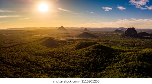 Panoramic aerial of Glasshouse Mountains on the Sunshine Coast