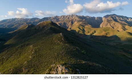 Panoramic aerial image over the country side outside the town of Robertson in the western cape of South Africa