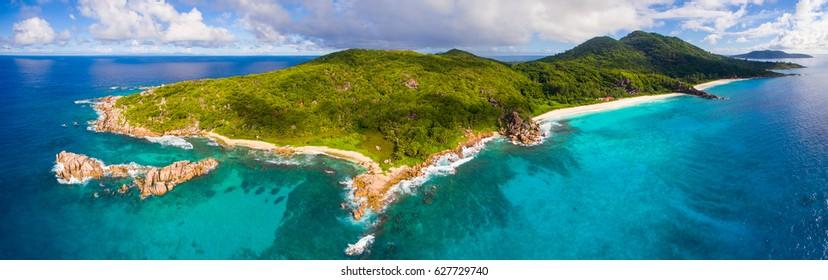 Panoramic Aerial: La Digue Island, Seychelles