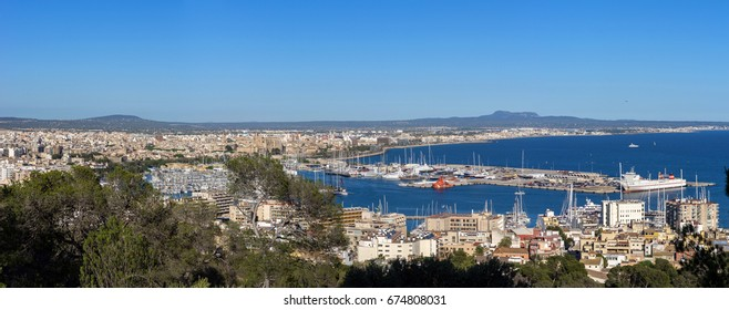 Panoramic aerial overhead view of Palma de Mallorca sunny day, Spain. Bay harbor with many sailboats and Luxury cruises