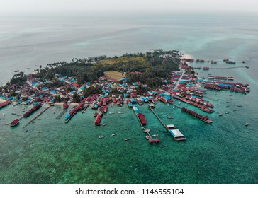 Panoramic aerial photo of Derawan island in East Kalimantan, Indonesia.