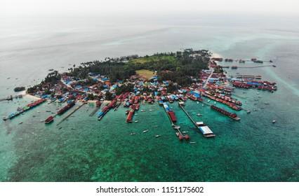 Panoramic aerial photo of Derawan island in East Kalimantan, Indonesia.