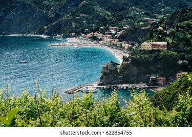 Panoramic aerial scenic overview of Monterosso al Mare, one of villages of Cinque Terre, province La Spezia, Liguria, Italy. UNESCO World Heritage.