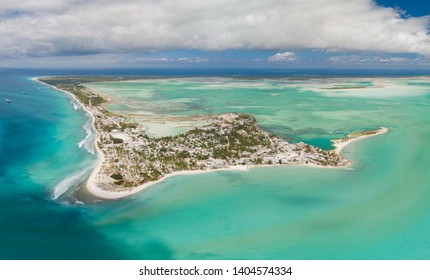 Panoramic aerial shot of Christmas Island and lagoon in Kiribati