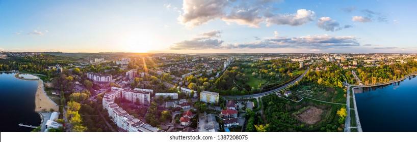 Panoramic aerial shot of Valea Morilor Park at sunset. Chisinau, Moldova