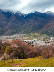 Panoramic aerial top view over Aosta valley in Piedmont, Italy. Known for the iconic, snow-capped peaks the Matterhorn, Mont Blanc, Monte Rosa, Gran Paradiso and ski resorts like Courmayeur.