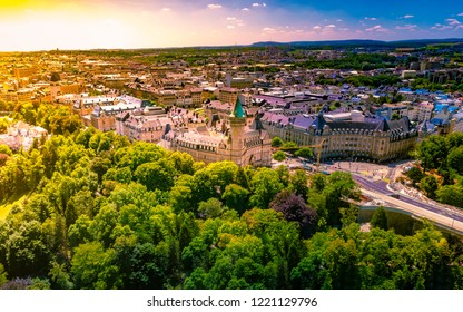 Panoramic aerial view of Adolph bridge, Fort Burbon and Musee de la banque in Luxembourg on a beautiful summer day, Luxembourg