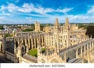 Panoramic aerial view of All Souls College, Oxford University, Oxford in a beautiful summer day, England, United Kingdom