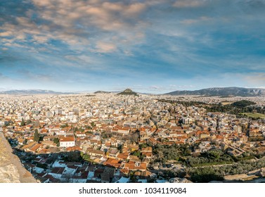 Panoramic Aerial view of Athens city, from Parthenon Acropolis, Greece