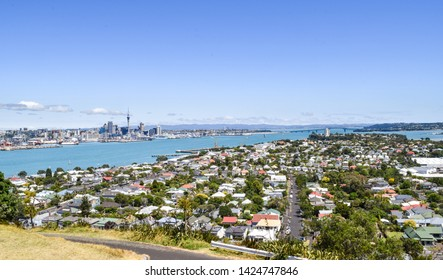 Panoramic Aerial View of Auckland and Harbor, as seen from Mount Victoria in Devonport - Auckland, New Zealand
