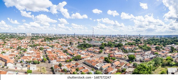Panoramic aerial view of the Autonomist neighborhood and surroundings, at the city of Campo Grande MS, Brazil. Capital of Mato Grosso do Sul state. Low density area, wooded city in development.