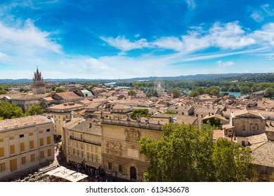 Panoramic aerial view of Avignon in a beautiful summer day, France