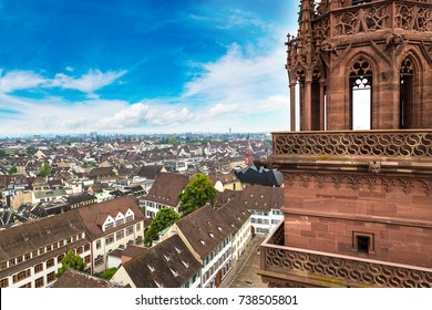 Panoramic aerial view of Basel in a beautiful summer day, Switzerland